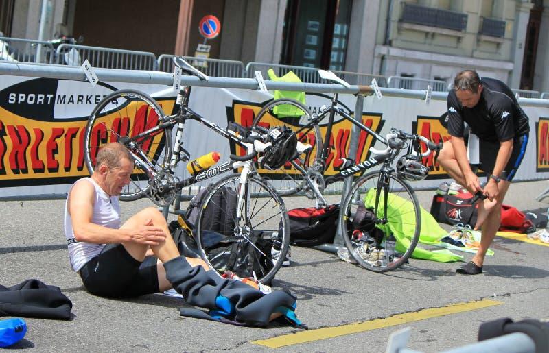Internationale Triathlon 2011, Genève, Zwitserland royalty-vrije stock foto