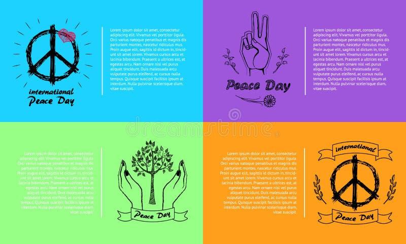 Internationale Vectorillustratie 4 van de Vredesdag Pics royalty-vrije illustratie