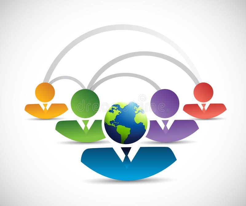 internationale verschiedene Teamwork-Verbindung stock abbildung