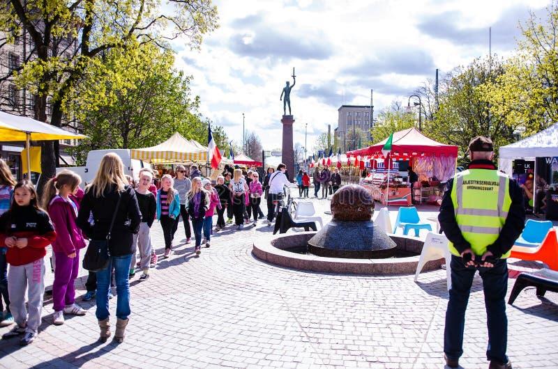 Internationale Voedselmarkt in Tampere, Finland, 17 Mei 2014 royalty-vrije stock afbeelding