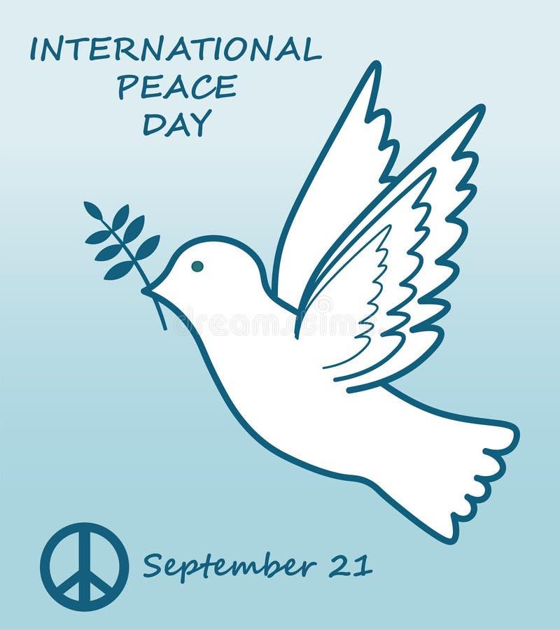 Internationale vrede dag 21 september, witte duif royalty-vrije illustratie