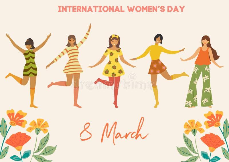 Internationale Vrouwen` s Dag Vector uitstekend malplaatje met leuke dansende meisjes en bloemen in retro stijl Kan voor banner,  royalty-vrije illustratie