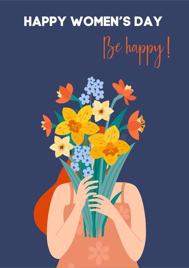 Internationale Vrouwen` s Dag Vectorillustratie met meisje en boeket van bloemen Mooi malplaatje Kan voor banner worden gebruikt, vector illustratie