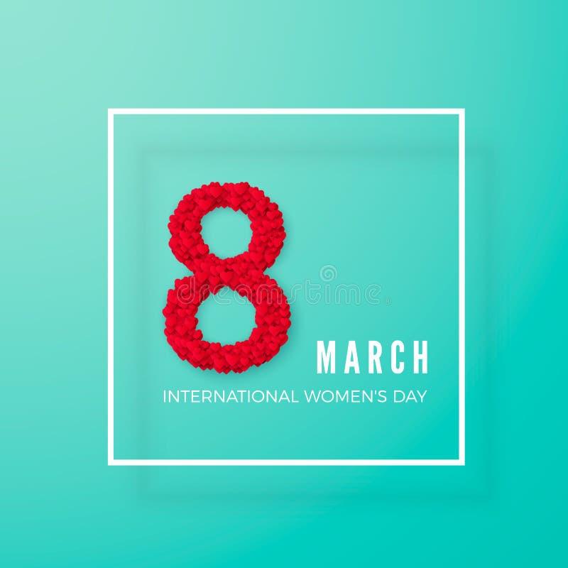 Internationale vrouwendag 8 maart groetprentbriefkaar Acht worden gemaakt van harten in een kader Het concept van de websitebanne vector illustratie