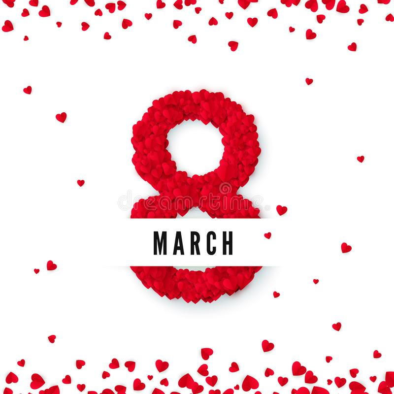 Internationale vrouwendag 8 maart groetprentbriefkaar Acht worden gemaakt van harten Het concept van de websitebanner Vector illu royalty-vrije illustratie