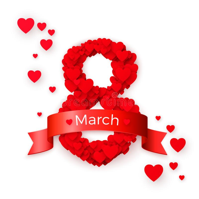 Internationale vrouwendag Marh 8 begroetende prentbriefkaar Het concept van de websitebanner Vector illustratie stock illustratie