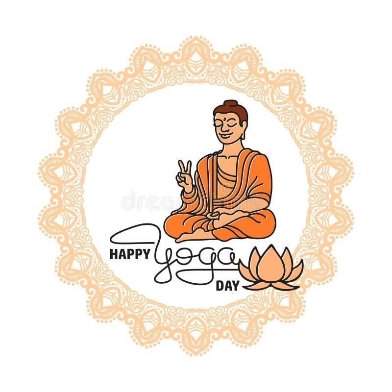 Internationale Yogadag Abstract lotusbloem en mensensilhouet stock foto's