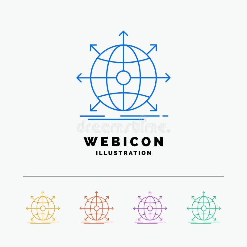 internationale zaken, globaal, netwerk, Web 5 het Pictogrammalplaatje van het Rassenbarrièreweb op wit wordt geïsoleerd dat Vecto stock illustratie