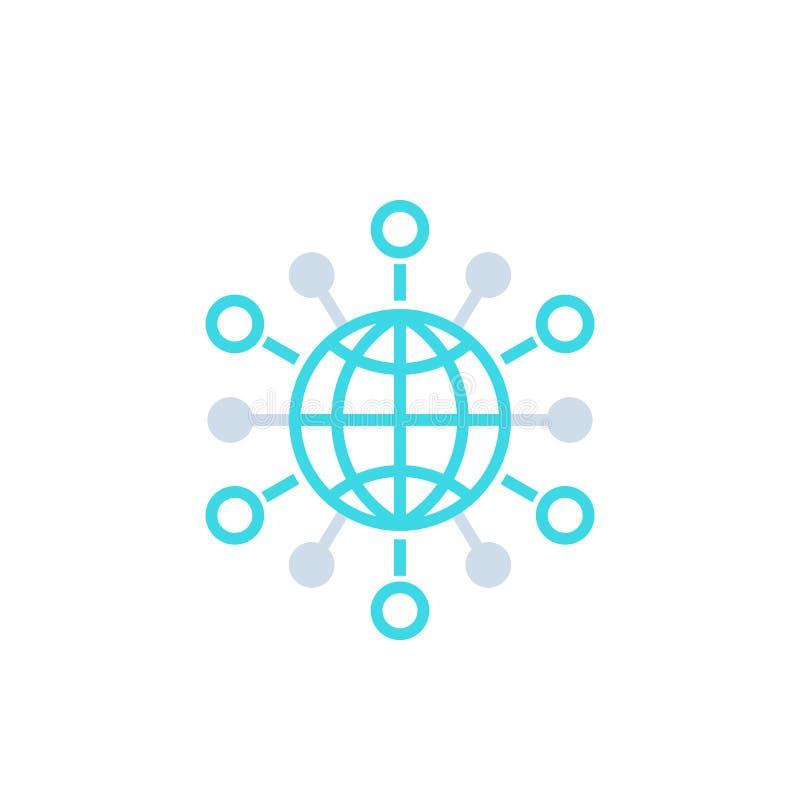 Internationale zaken, wereldmarkten vectorpictogram stock illustratie
