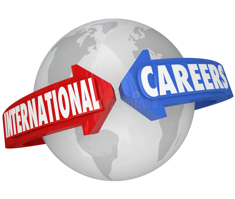 Internationalen rusar arbetsgivarejobb för global affär royaltyfri illustrationer