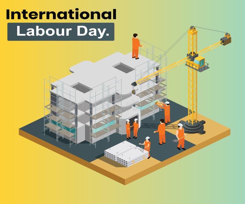 Internationaler Arbeitstag, in dem der Bau erfolgtes isometrisches Grafikkonzept gewesen wird lizenzfreie abbildung