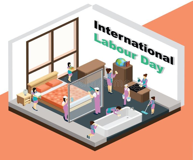 Internationaler Arbeitstag, wo die Mädchen das Haus-isometrische Grafik-Konzept säubern vektor abbildung