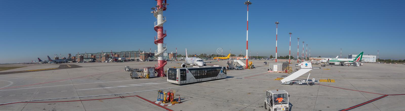 Internationaler Flughafen Venedigs, Italien - Panoramablick stockfotos