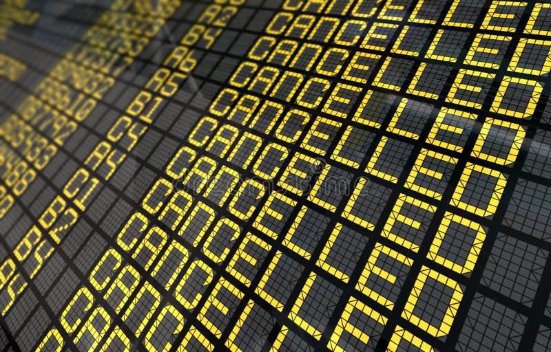 Internationaler Flughafen-Vorstand mit beendeten Flügen stock abbildung