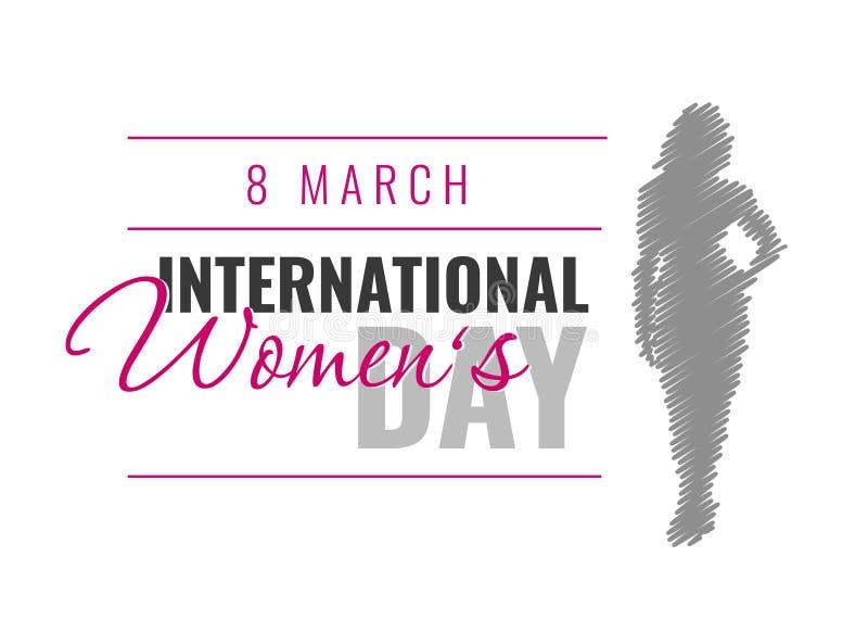 Internationaler Frauen ` s Tag Vektor-Illustration mit weiblichem Schattenbild lizenzfreie stockbilder