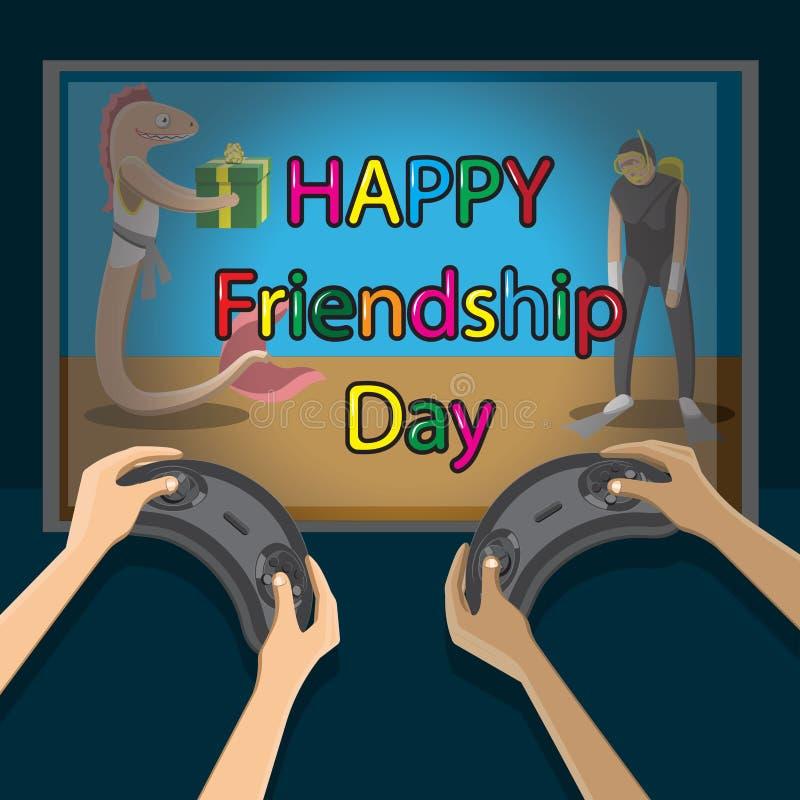 Internationaler Freundschaftstag der Glückwünsche Hände, die Steuerknüppel Fernsehvideospiel mit Charaktergeschenken halten Regen stock abbildung