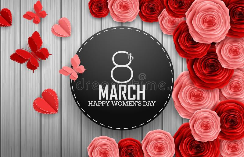Internationaler glücklicher Frauen ` s Tag mit Papierausschnittschmetterlingen, Rosenblumen und schwarzem rundem Zeichen auf hölz vektor abbildung