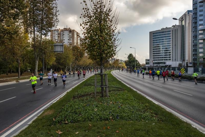 40. internationaler Istanbul-Marathon und -athleten stockbild