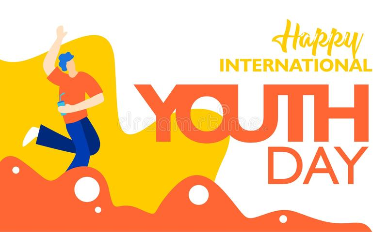 Internationaler Jugendtag, am 12. August mit aktiver und leidenschaftlicher Illustration der jungen Leute auf orange gewellter Fo stock abbildung