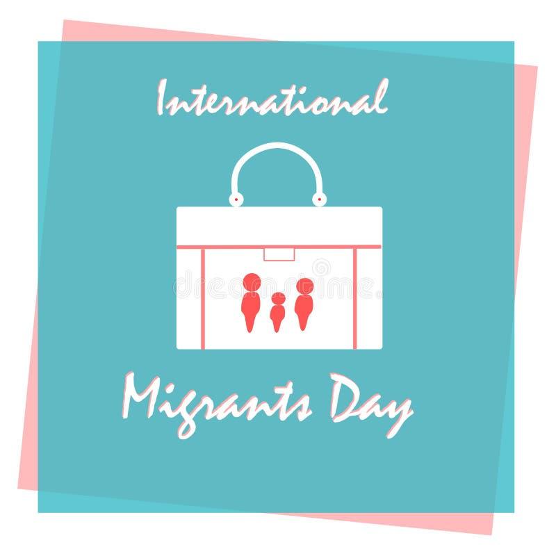 Internationaler Migrationstag, Poster, Quotes, Vector Template Vector-Illustration zum Thema Internationaler Tag der Migranten Gl vektor abbildung