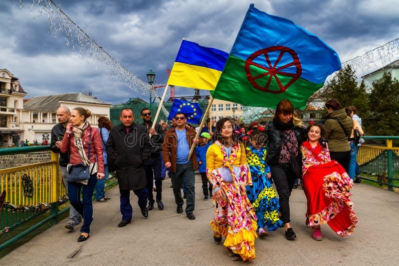 Internationaler Roma Day wurde in Uzhhorod gefeiert lizenzfreies stockbild