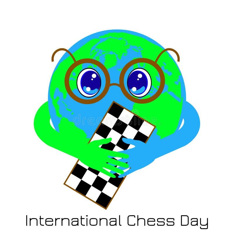 Internationaler Schach-Tag 20. Juli Planeten-Erde ist ein Junge mit den Gläsern, die ein Schachbrett halten stock abbildung