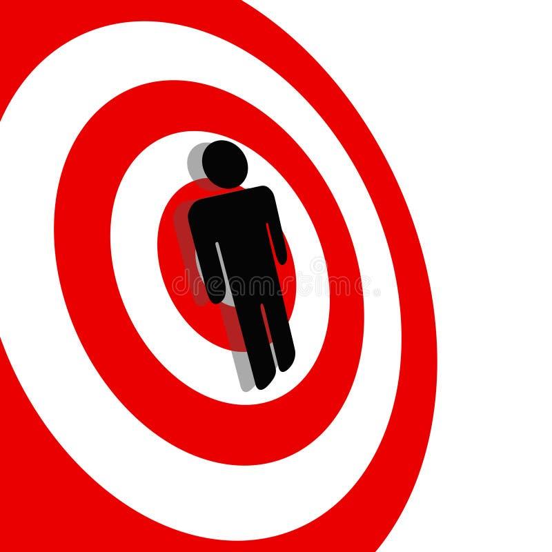 Internationaler Symbol-Mann auf rotem Ziel-Bullauge lizenzfreie abbildung