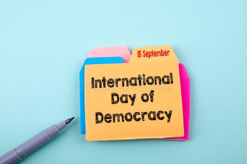 Internationaler Tag der Demokratie am 15. September lizenzfreies stockfoto