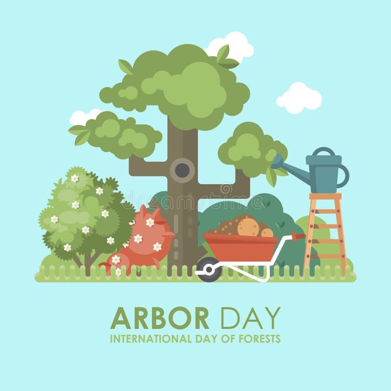 Internationaler Tag der flachen bunten Illustration des Waldtag des baums-Vektors mit Baum und des Waldes auf blauem Hintergrund vektor abbildung