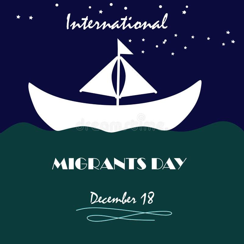 Internationaler Tag der Migranten, Poster, Quotes, Vector Template, Illustration Schiffsevakuieren Unterschiedliche Schiffe auf S stock abbildung