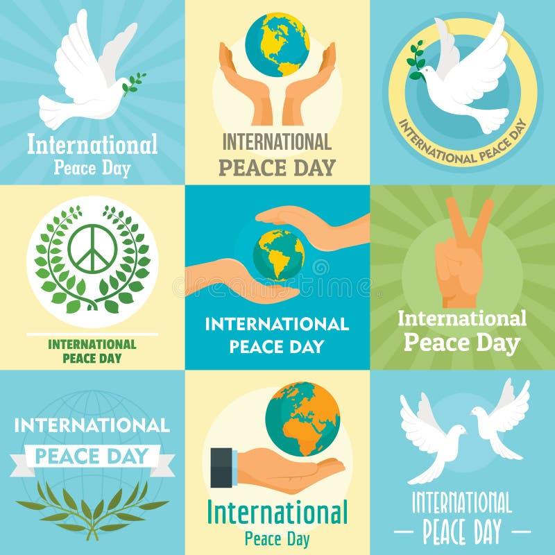 Internationaler Tag des Friedenskonzeptsatzes, flache Art stock abbildung