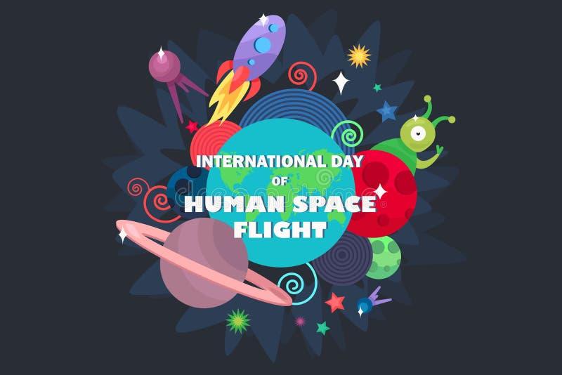 Internationaler Tag des menschlichen Raumfluges lizenzfreie abbildung