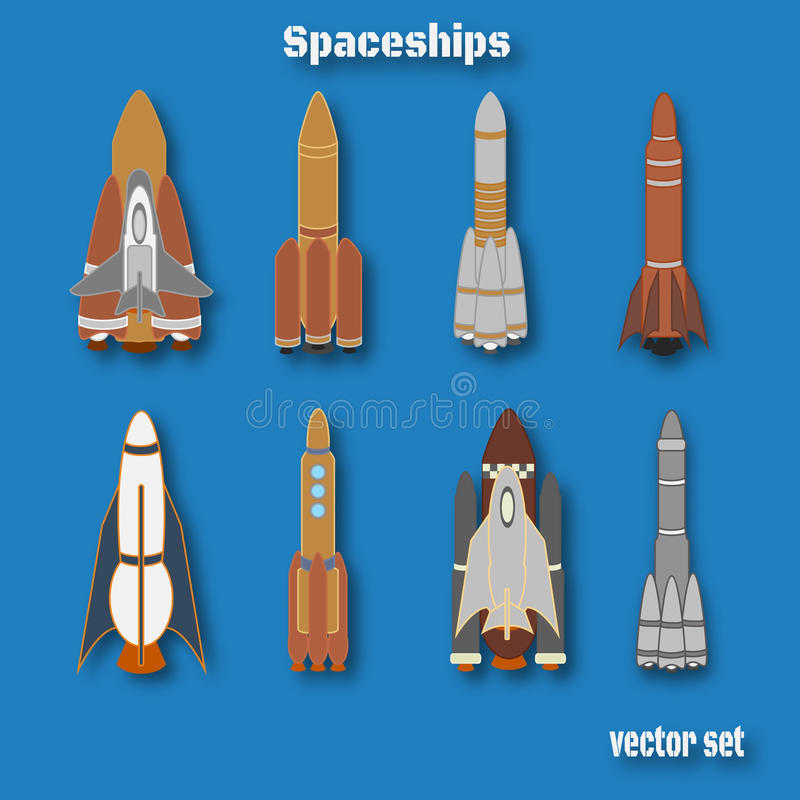 Internationaler Tag des menschlichen Raumfluges RaumschiffFarbsatz stock abbildung