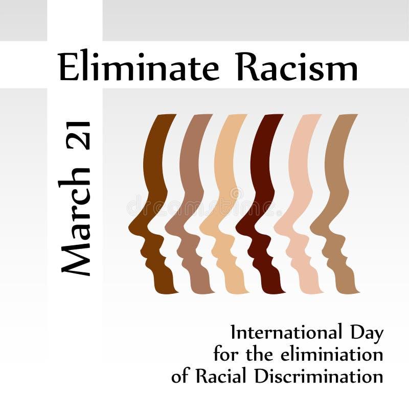 Internationaler Tag für die Beseitigung von Rassismus am 21. März lizenzfreie abbildung