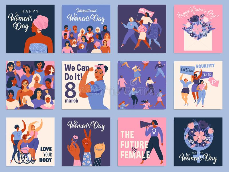 Internationaler Tagessatz der Frauen-s Vector Schablonen für Karte, Plakat, Flieger und andere Benutzer lizenzfreie abbildung