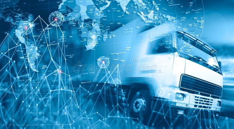 Internationaler Versand und Landstraße des abstrakten Designs Logistikbus stock abbildung