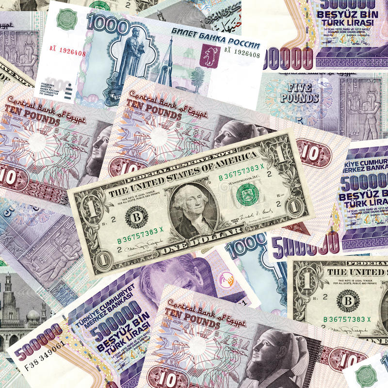 Internationales Bargeld stockfoto