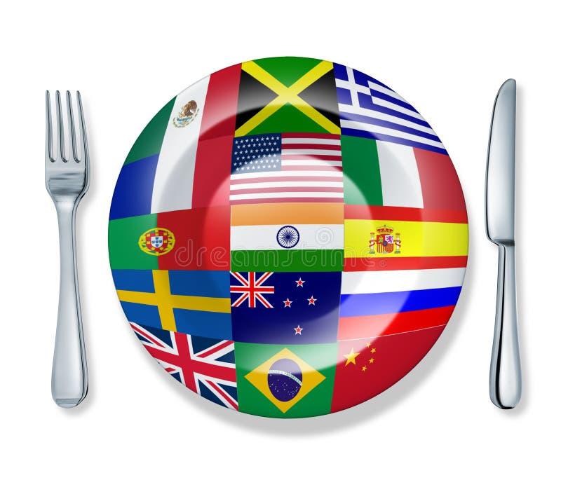 Internationales getrennte Welt der Nahrungsmittelgabel-Platte Messer vektor abbildung