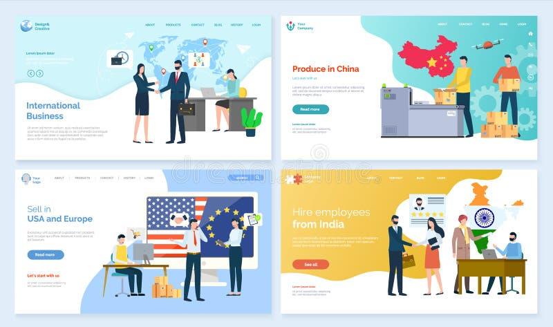 Internationell affär, jordbruksprodukter i den Kina websiten royaltyfri illustrationer