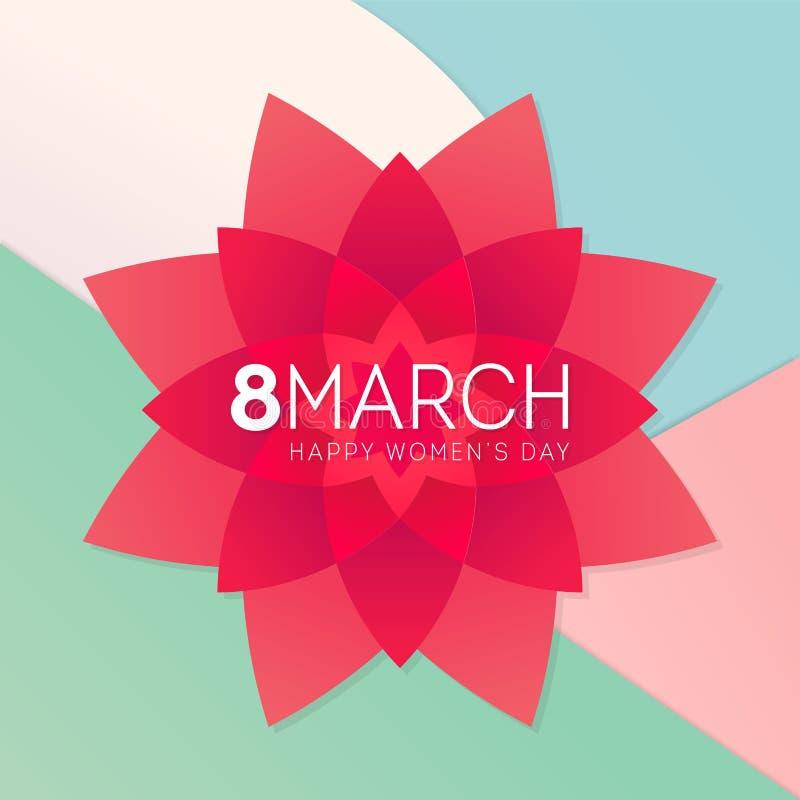 Internationell affisch för blomma för kort för hälsning för marsch för dag för kvinna` s 8th stock illustrationer