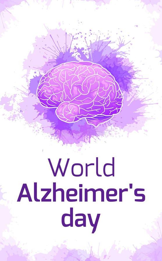 Internationell Alzheimers dag Vertikalt kort med den mänskliga hjärnan på purpurfärgade vattenfärgfläckar Sjukdom och utplåning i royaltyfri illustrationer