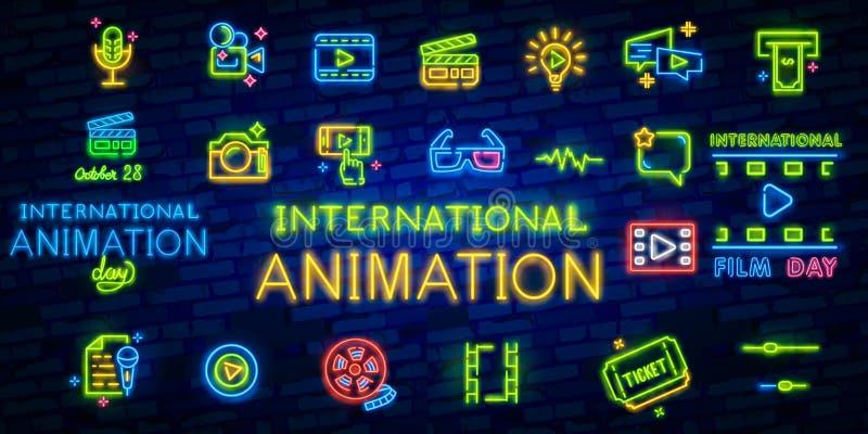 Internationell animeringdag Oktober 28, illustration illustrationneon sjunger, märker och logoen Biobanerdesign vektor illustrationer