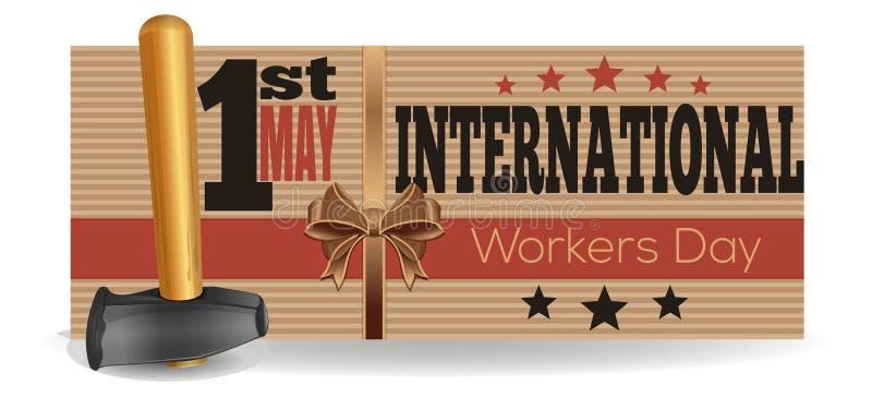 Internationell arbetardag 1st May Reklambladmall royaltyfri illustrationer