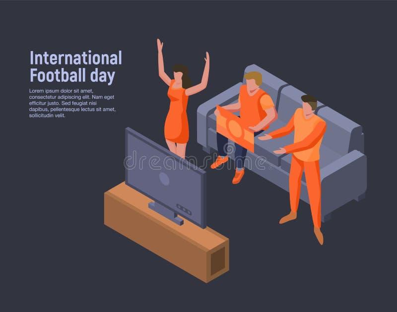 Internationell bakgrund för fotbolldagbegrepp, isometrisk stil vektor illustrationer