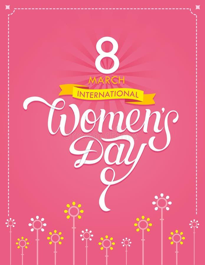 Internationell bokstäver för dag för kvinna` s dragen hand royaltyfria foton