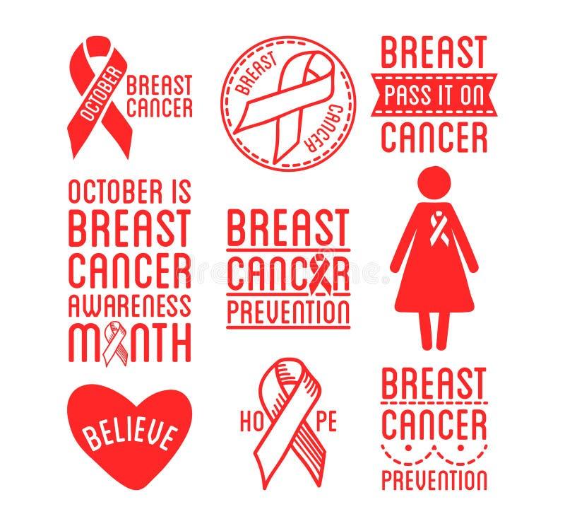 Internationell dag av bröstcancermedvetenhet Uppsättning av vektorband och emblem Symboler av hopp, välgörenhet och service royaltyfri illustrationer