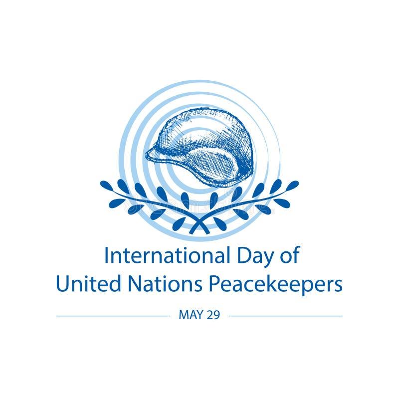 Internationell dag av F?renta Nationernafredsbevarare vektor illustrationer