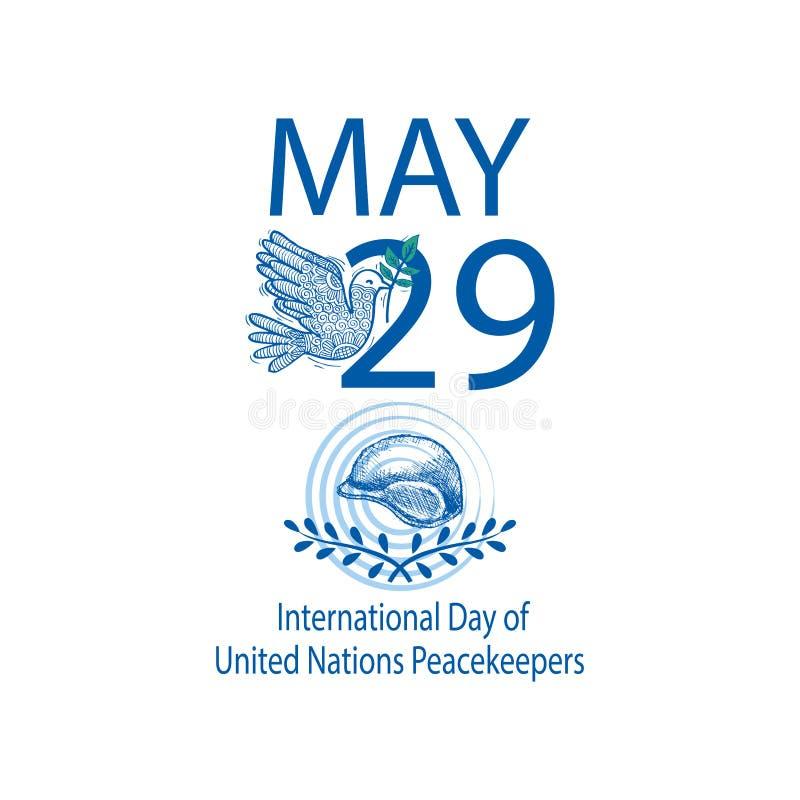Internationell dag av F?renta Nationernafredsbevarare royaltyfri illustrationer