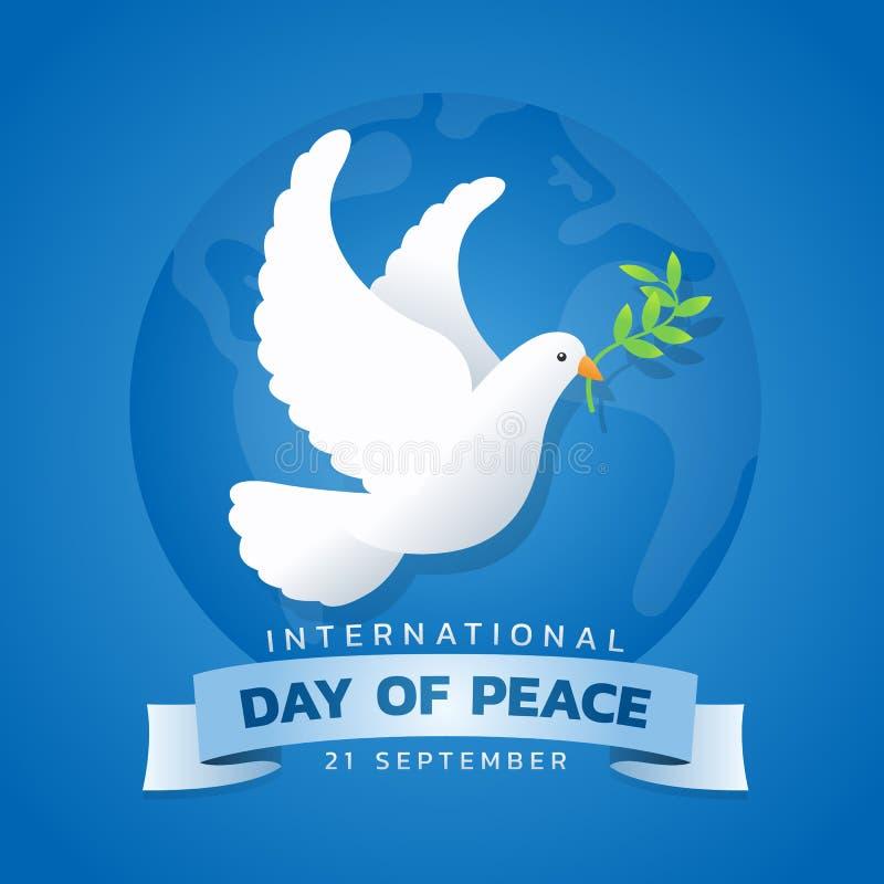 Internationell dag av fredbanret med den vita duvan med bladet på blå design för vektor för cirkelwolrdbakgrund royaltyfri illustrationer