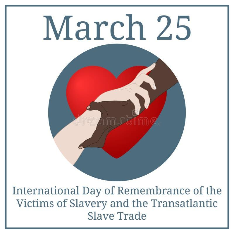 Internationell dag av minnet för offren av slaveri och den transatlantiska slav- Trade Mars 25 Marskalender vektor vektor illustrationer